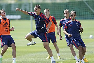 Тренировка сборной России в Марбелье