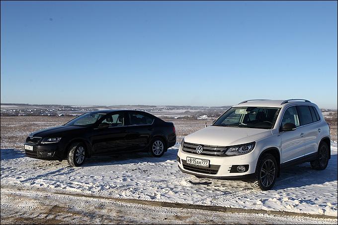 Volkswagen Tiguan и ŠKODA Octavia на магистрали чувствовали себя уверенно