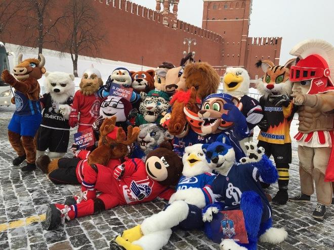 Маскоты клубов КХЛ на Красной площади