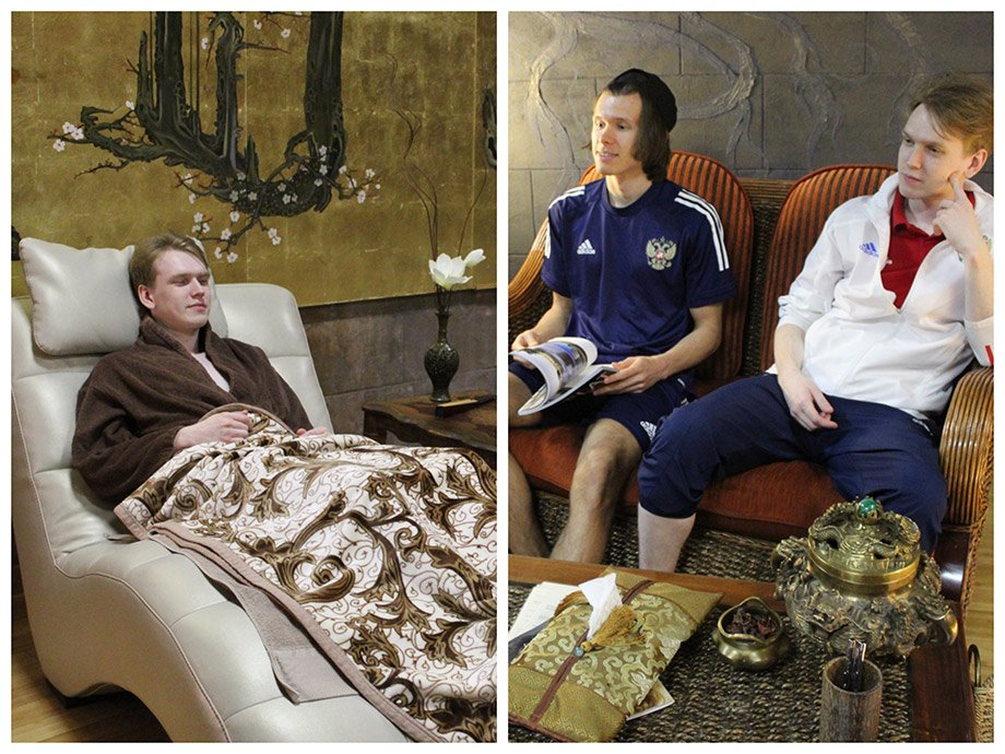 Игроки Сборной России по FIFA на обязательных спа-процедурах