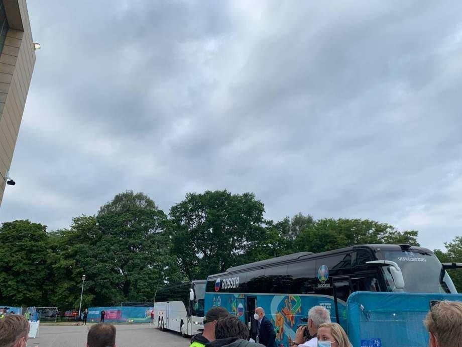 Сборная России прибыла на стадион «Паркен», Копенгаген