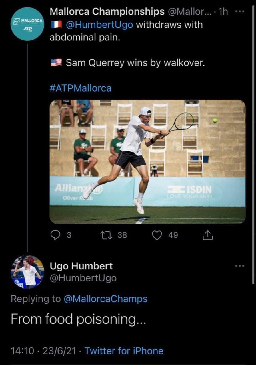 Организаторы турнира на Мальорке неверно назвали причину снятия Умбера. Уго отреагировал