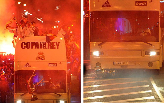 Серхио Рамос выпустил из рук кубок прямо под колёса автобуса