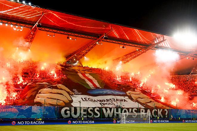 Фанаты «Легии» подрались впервом тайме матча с«Боруссией»