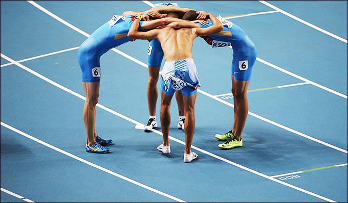 Фоторепортаж: Сборная России — бронзовый призёр ЧМ в Москве в эстафете 4х400 м