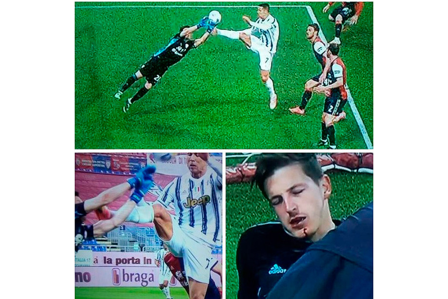 Роналду нанёс страшный удар ногой в челюсть вратарю. Почему его не удалили?!