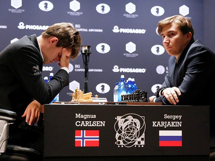 Магнус Карлсен и Сергей Корякин