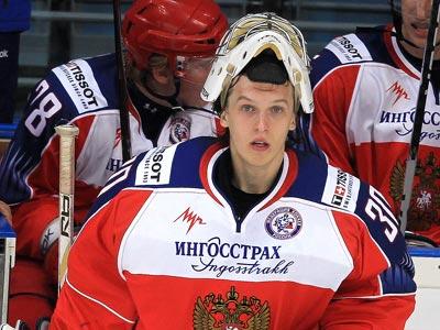 Голкипер сборной Запада Евгений Иванников на Кубке Вызова