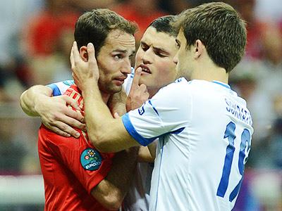 Широков в матче против сборной Греции на Евро-2012