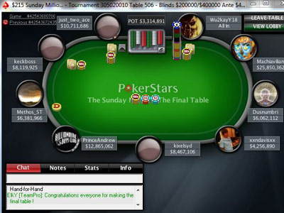Sunday Million. 11th of April