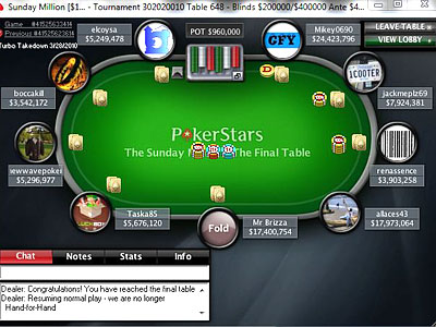 Sunday Million. 21th of March