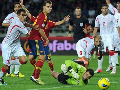 Эпизод матча Грузия — Испания (0:1)
