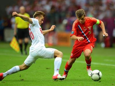 Россия и Польша сыграли вничью 1:1 на Евро-2012