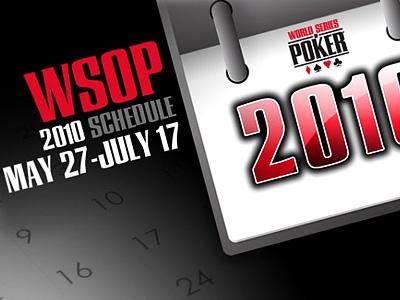 WSOP-2010. Расписание турниров