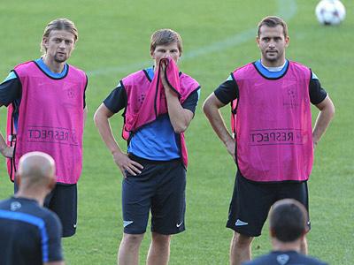 Тимощук, Аршавин и Кержаков на тренировке