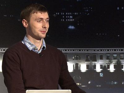 Владимир Гучек на трибуне КХЛ ТВ