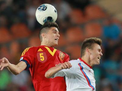 Максим Беляев в матче против Испании