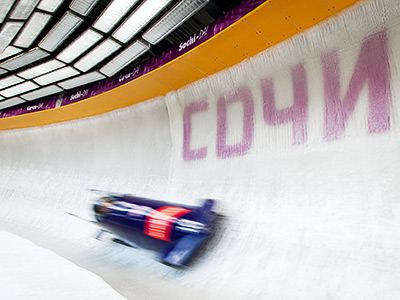 Олимпиада в Сочи. Лёд на санно-бобслейной трассе