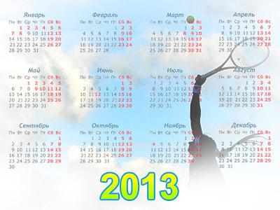 Календарь теннисных турниров. Апрель-2013