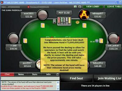 Сдана 75-миллиардная раздача на PokerStars