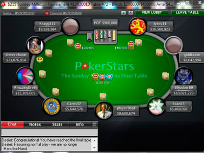 Sunday Million, 27th of March