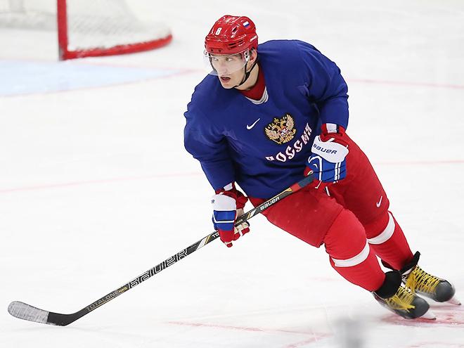 Александр Овечкин на тренировке сборной
