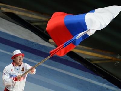 Знаменосец сборной России Дмитрий Хомяков
