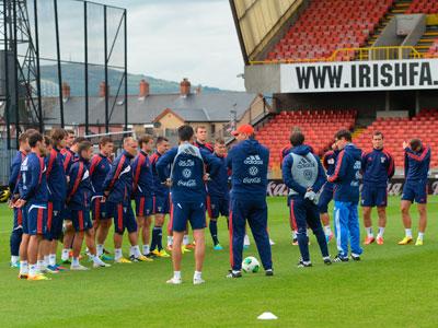 Тренировка сборной России в Белфасте
