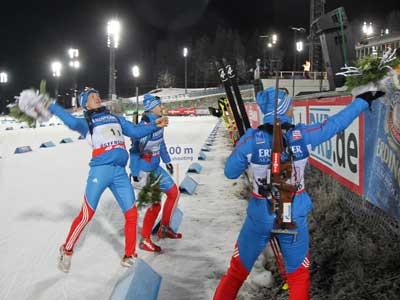 Россияне выиграли смешанную эстафету