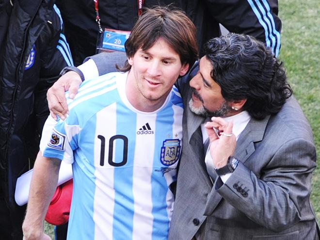 Лионель Месси и Диего Марадона