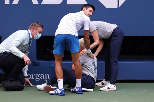 It is not the first time Djokovic hits a man with a ball.  But before these were game episodes