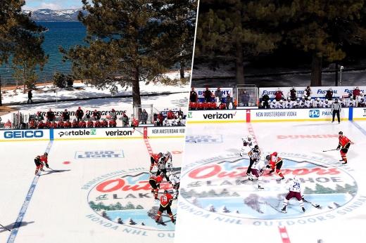 Первый матч НХЛ на открытом воздухе, «Рейнджерс» — «Кингз» в 1991 году, кузнечики на льду