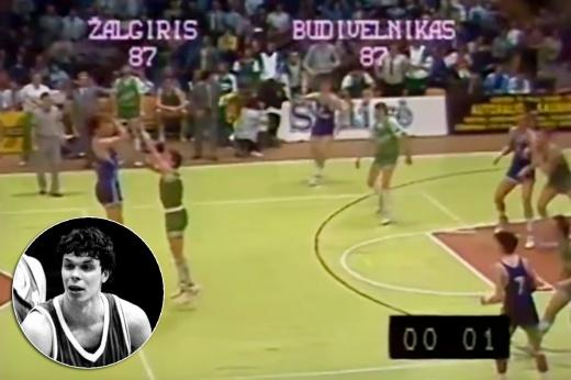 Римас Куртинайтис участвовал в конкурсе трёхочковых Матча звёзд НБА 1989 года