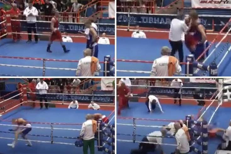 Боксёр избил судью на ринге, после чего был арестован, соперник сбежал — видео