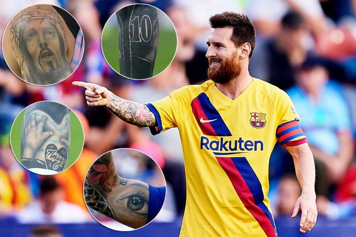 Что означают татуировки нападающего «Барселоны» Месси – карта, губы, мяч, корона и Иисус