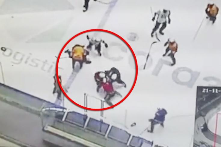 Драка на тренировке «Барыса»: 100-килограммовый русский свалил канадца с одного удара