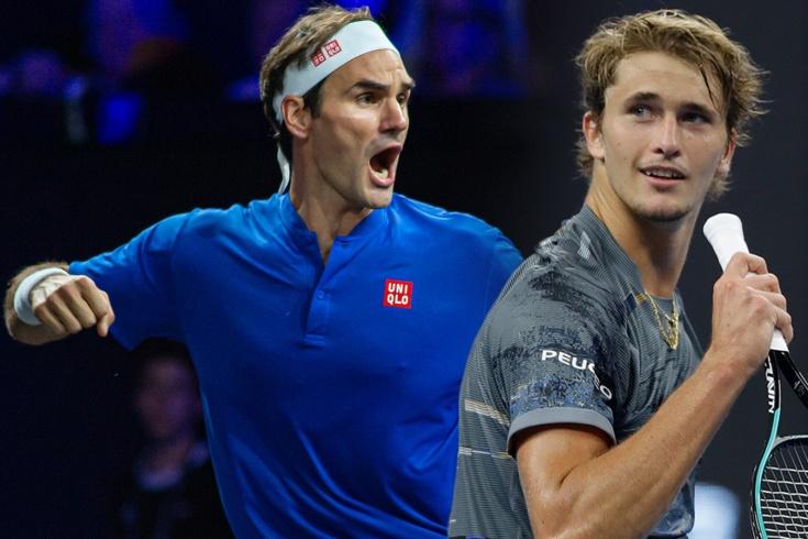 Роджер Федерер забросал мячами Александра Зверева за ошибку, видео