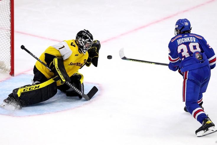 «Северсталь» — СКА – 2:3, видео, голы, обзор матча чемпионата КХЛ, дебют Матвея Мичкова