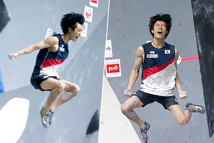 Корейский скалолаз зачем-то прыгнул с высоты