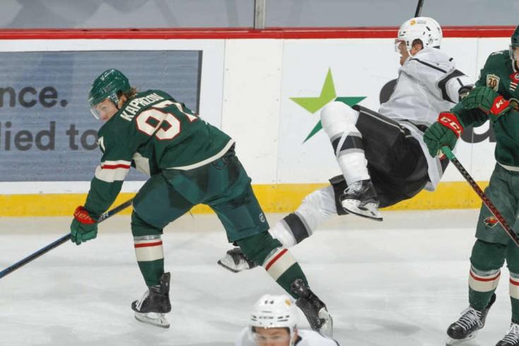 «Миннесота» — «Лос-Анджелес» — 5:3, Капризов забил второй гол в сезоне и провёл мощный хит, видео
