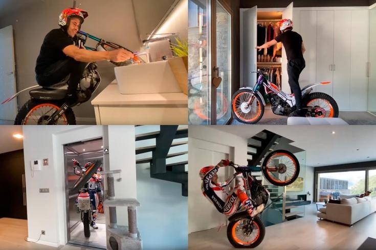 Испанский гонщик затащил домой мотоцикл. Чистит на нём зубы и ездит в лифте