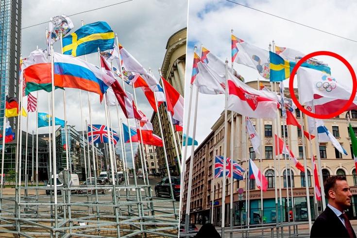 В центре Риги на ЧМ по хоккею были заменены флаги России и Беларуси, как и почему это произошло
